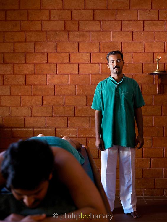 Ayurvedic massage parlour, a traditional medicine and treatment native to India. Kerala, India