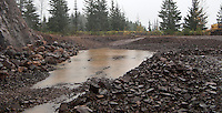 recent quarrying at the borrow pit near the Mount Tahoma Trails Association Yurt in the Tahoma State Forest in the Washington state Cascade Mountain Range.