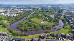 Aerial view of Cuningar Loop public woodland park on banks of River Clyde at Rutherglen, Glasgow, Scotland, UK