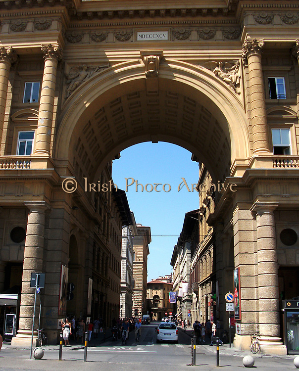 The triumphal arch at Piazza della Repubblica, Florence, Italy. The ancient centre of the city which was restored in the 19th century, when Florence was briefly made the capital city of a reunited Italy. The arch was completed in 1895, and bears a plaque with the date and statement of the restoration.