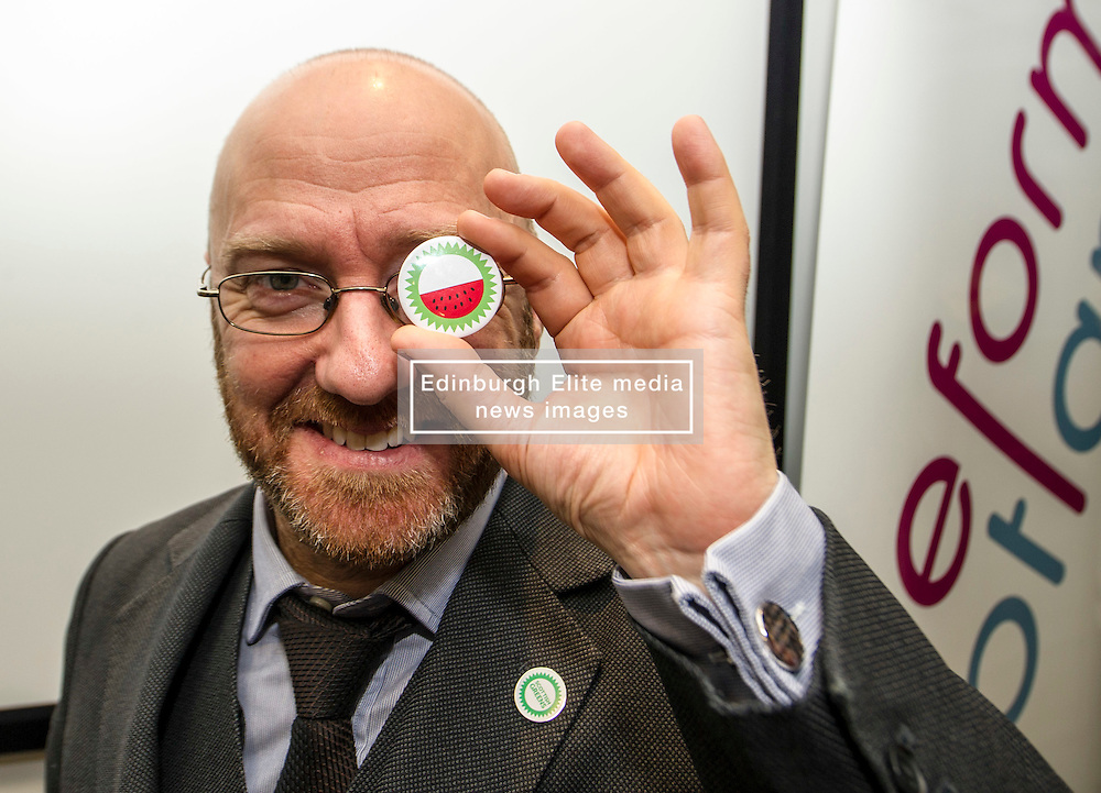 "Pictured: Patrick Harvie shows off the new Green Party badge, which depicts a watermelon, in response to Murdo Fraser referring to the party as ''lentil-eating, sandal wearing, watermelons"".  Who said the Greens do not have a sense of humour!<br /> <br /> Green Party co-convener Patrick Harvie delivered an address to Reform Scotland. This is the second event, organised by Shepherd and Wedderburn, in the think tank's series of speeches on the Scottish Government's tax and spending plans.<br /> <br /> Ger Harley 