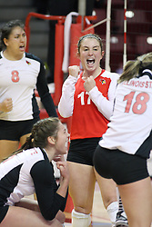 02 November 2012:  Jenny Menendez celebrates a point during an NCAA womens volleyball match between the Missouri State Bears and the Illinois State Redbirds at Redbird Arena in Normal IL