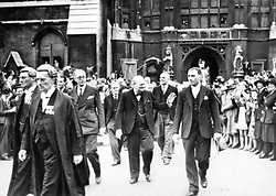 File photo dated 01/06/45 showing showing Sir Winston Churchill leaving the Houses of Parliament in London on victory day celebrations marking the end of the Second World War in Europe, now 75 years ago.