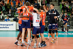 Team ACH Volley celebrate during volleyball match between ACH Volley (SLO) and Euphony Asse-Lennik (BEL) in 3rd Leg of Pool D of 2013 CEV Champions League on November 14, 2012 in Arena Stozice, Ljubljana, Slovenia. (Photo By Urban Urbanc / Sportida)