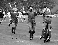 Liverpool players celebrate their penalty shoot-out win. Liverpool v Leeds United, Charity Shield, Wembley Stadium, 10/08/1974. Credit: Colorsport
