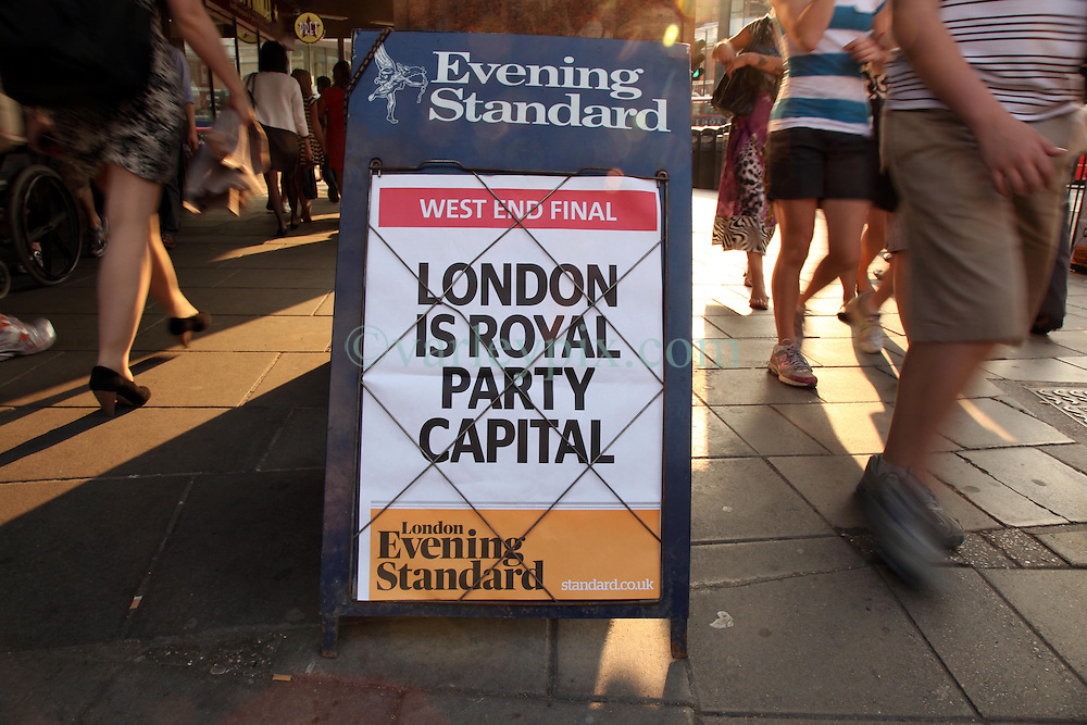21 April 2011. London, England..The Evening Standard Newspaper billboards proclaiming London to be 'Royal Party Capital' near Victoria Station in the run up to Catherine Middleton's marriage to Prince William. .Photo; Charlie Varley.
