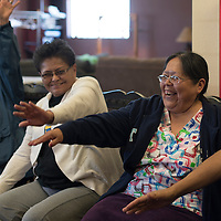 032515      Cayla Nimmo<br /> <br /> Margie Brown does the Eagle Dance at a workshop on carrying for elderly with dementia in Standing Rock Wednesday.
