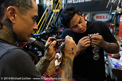 Shaun (L) and his brother Aaron Guardado at their Suicide Machine shop as they were doing final prep on their Born Free Harley-Davidson custom and race bikes. Long Beach, CA, USA. Wednesday, June 19, 2019. Photography ©2019 Michael Lichter.