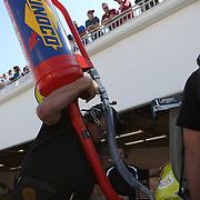 The gas port on a Sprint Cup Car where Sunoco ethanol gets put in at Daytona International Speedway on February 18, 2011 in Daytona Beach, Florida. (AP Photo/Alex Menendez)