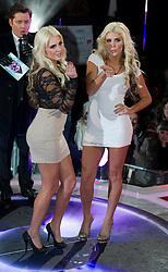 Contestants twins Karissa and Kristina Shannon at the launch of  Celebrity Big Brother 2012 in London , Thursday 5th January 2012. Photo by: i-Images