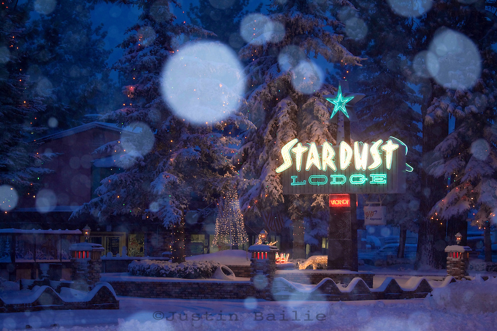 Stardust Motel with snow at Christmas time in South Lake Tahoe, CA.