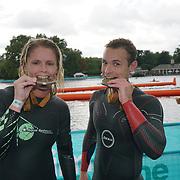 London, England, UK. 16th September 2017. Sally Blick first woman winner & Terry Bonnett first man winner - Swim Serpentine the London Classics 2 miles at Serpentine lake.