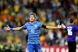 Neymar Jr. comemora gol durante amistoso contra África do Sul, no estádio Soccer City, em Joanesburgo. FOTO: Jefferson Bernardes/ Agência Preview