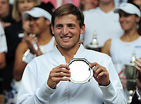 Tennis - 2017 Wimbledon Championships - Week Two, Sunday [Day Thirteen]<br /> <br /> Boys Singles Final match<br /> <br /> Axel Geller (ARG) v Alejandro Davidovich Fokina (ESP)<br /> <br /> Axel Geller receives his runners up Plate on  Centre court <br /> <br /> COLORSPORT/ANDREW COWIE