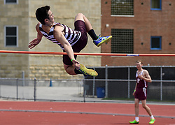 Lebanon senior Ryan Sullivan clears the bar in the boys high jump during the NHIAA Division II track and field championship at UNH on Saturday, May 25, 2019.  (Alan MacRae/Valley News)