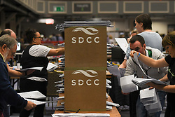 May 25, 2019 - Dublin, Ireland - Ballots are counted in the Local, European Parliament elections and the referendum on Ireland's divorce laws at the Citywest Convention Centre in Dublin..On Saturday, May 25, 2019, in Dublin, Ireland. (Credit Image: © Artur Widak/NurPhoto via ZUMA Press)