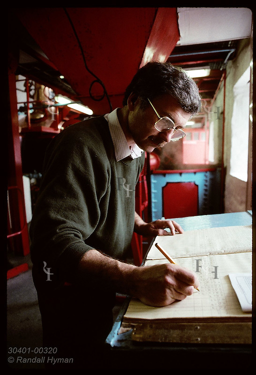 Stillman John Reed enters readings from whisky production into logbook @ Edradour;(v) Pitlochry Scotland