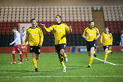 Falkirk's Lyle Taylor celebrates after scoring their third goal..Airdrie United 1 v 4 Falkirk, 22/12/2012..©Michael Schofield.