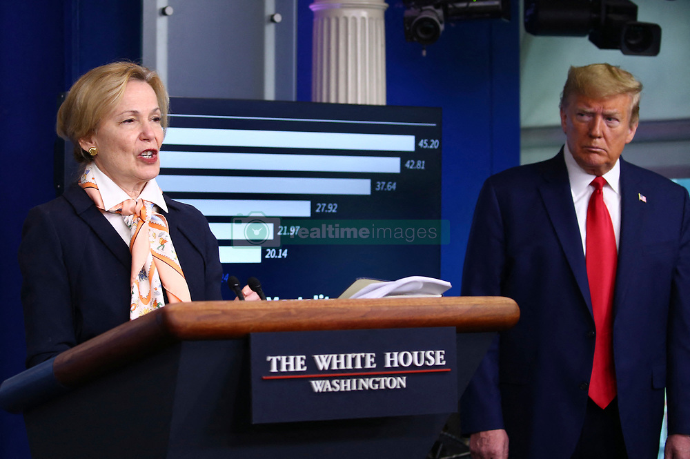 Coronavirus Response Coordinator Ambassador Debbie Birx delivers remarks on the COVID-19 pandemic as President Donald Trump listens at the White House in Washington, D.C. on Saturday, April 18, 2020. Photo by Tasos Katopodis/Pool/ABACAPRESS.COM