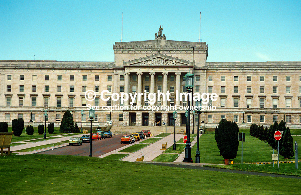 Parliament Building, Stormont, Belfast, N Ireland, UK, 19850413PB1.<br /> <br /> Copyright Image from Victor Patterson, Belfast, UK<br /> <br /> t: +44 28 9066 1296 (from Rep of Ireland 048 9066 1296)<br /> m: +44 7802 353836<br /> e: victorpattersonbelfast@gmail.com<br /> <br /> www.images4media.com<br /> <br /> Please see my full Terms and Conditions of Use at https://www.images4media.com/p/terms-conditions - it is IMPORTANT that you familiarise yourself with them.<br /> <br /> Images used online incur an additional cost. This cost should be agreed in writing in advance. Online images must be visibly watermarked i.e. © Victor Patterson or that of the named photographer within the body of the image. The original metadata must not be deleted from images used online.<br /> <br /> This image is only available for the use of the download recipient i.e. television station, newspaper, magazine, book publisher, etc, and must not be passed on to a third party. It is also downloaded on condition that each and every usage is notified within 7 days to victorpattersonbelfast@gmail.com.<br /> <br /> The right of Victor Patterson (or the named photographer) to be identified as the author is asserted in accordance with The Copyright Designs And Patents Act (1988). All moral rights are asserted.