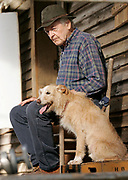 """Actor Hal Holbrook on the set of """"I Hate to See That Evening Sun Go Down"""" with Dually, known as """"Nipper"""" as filming for the movie takes place Thursday, Aug. 7, 2008 in Rockford, Tenn. (Photo/Wade Payne)"""