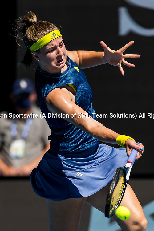MELBOURNE, VIC - FEBRUARY 17: Karolina Muchova of the Czech Republic returns the ball during the quarterfinals of the 2021 Australian Open on February 17 2021, at Melbourne Park in Melbourne, Australia. (Photo by Jason Heidrich/Icon Sportswire)