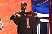 28 April 2016:   Baylor's Corey Coleman walks on stage and poses with his jersey after being drafted as 15th Pick by the Cleveland Browns in the first round of the 2016 NFL Draft, held at the Auditorium Theatre, in Chicago IL.  (Photo By Robin Alam/Icon Sportswire)