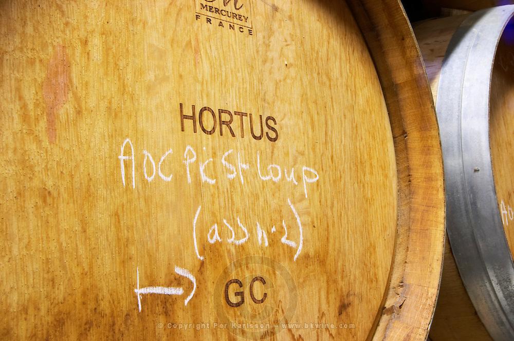 AOC Pic St Loup. Domaine de l'Hortus. Pic St Loup. Languedoc. Barrel cellar. France. Europe.