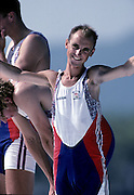 Barcelona,  SPAIN, GBR M2+ Greg and Jonny Searle: cox Garry Herbert at the 1992 Olympic Regatta. Lake Banyoles, Nr Barcelona SPAIN,  [Photo, Peter Spurrier/Intersport-images]..       {Mandatory Credit: © Peter Spurrier/Intersport Images].