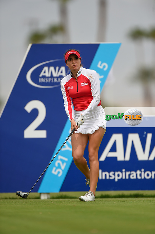 Gaby Lopez (MEX) watches her tee shot on 2 during round 3 of the 2020 ANA Inspiration, Mission Hills C.C., Rancho Mirage, California, USA. 9/12/2020.<br /> Picture: Golffile   Ken Murray<br /> <br /> All photo usage must carry mandatory copyright credit (© Golffile   Ken Murray)