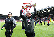 Sheffield United's Chris Wilder celebrates with the trophy during the League One match at Bramall Lane, Sheffield. Picture date: April 30th, 2017. Pic David Klein/Sportimage
