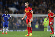 Jordan Henderson, the Liverpool capt looks on.  Premier league match, Chelsea v Liverpool at Stamford Bridge in London on Friday 16th September 2016.<br /> pic by John Patrick Fletcher, Andrew Orchard sports photography.