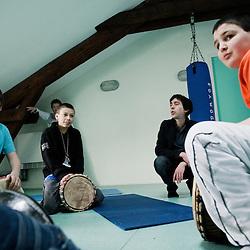 La salle d'expression, pour la musique, le sport, etc. La Chaumiere, Maison d'enfants à caractere social. Vilcey-sur-Trey (54), France. 10 mars 2010. Photo : Antoine Doyen