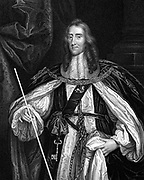 Edward Montagu, second Earl of Manchester (1602-1671).  English nobleman who fought on side of Parliament against the Royalists. Opposed trial of Charles I. Actively promoted Restoration of the monarchy. After portrait by Peter Lely (1618-80). Engraving.
