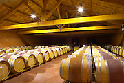 """The barrel aging cellars with rows of oak barrels. All are """"painted"""" red in the middle with red wine to make them look more esthetic.  Domaine Pierre Gaillard, Malleval, Ardeche, ardèche, France, Europe"""