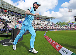 England's Ben Stokes makes his way onto the pitch for the start of the mach during the ICC Cricket World Cup Warm up match at The Hampshire Bowl, Southampton.