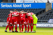 Birmingham City form a huddle during the EFL Sky Bet Championship match between Swansea City and Birmingham City at the Liberty Stadium, Swansea, Wales on 19 September 2020.