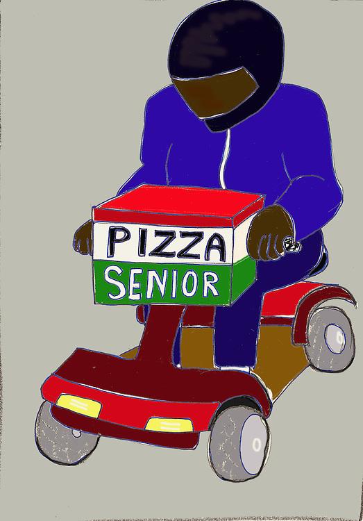 Driebergen, 13  febr  2009.illustratie met de verhoging van de pensioengerechtigde leeftijd als thema. oude pizzabezorger brengt pizza's aan huis met zijn scootmobiel.. Foto: (c) Renee Teunis
