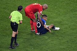 July 10, 2018 - Saint-Petersburg, RUSSIA - Uruguayan referee Andres Cunha and France's Kylian Mbappe pictured during the semi final match between the French national soccer team 'Les Bleus' and Belgian national soccer team the Red Devils, in Saint-Petersburg, Russia, Tuesday 10 July 2018. ..BELGA PHOTO LAURIE DIEFFEMBACQ (Credit Image: © Laurie Dieffembacq/Belga via ZUMA Press)
