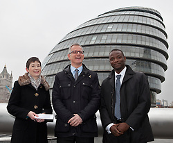 © Licensed to London News Pictures. 05/04/2012. London, U.K..Brian Paddick (m), Liberal Democrat candidate for London Mayor and Caroline Pidgeon (l) announce that Duwayne Brooks (R), best friend of Stephen Lawrence, is to be his Deputy Mayor for Youth and Communities. The position would involve Duwayne working closely with communities and young people in London, listening and engaging with them and reporting back to the Mayor, offering advice and delivering projects beneficial to both groups..Photo credit : Rich Bowen/LNP