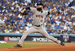 October 24, 2017 - Los Angeles, California, U.S. - Houston Astros starting pitcher Dallas Keuchel throws to the plate against the Los Angeles Dodgers in the first inning of game one of a World Series baseball game at Dodger Stadium on Tuesday, Oct. 24, 2017 in Los Angeles. (Photo by Keith Birmingham, Pasadena Star-News/SCNG) (Credit Image: © San Gabriel Valley Tribune via ZUMA Wire)
