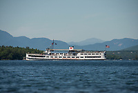 """Mount 1"" and ""Mount 2"" the MS Mount Washington cruises Lake Winnipesaukee with Mt Washington in the distance.  (Karen Bobotas/for the Laconia Daily Sun)"