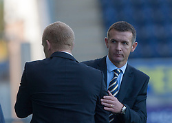 Falkirk's manager Gary Holt and Queen of the South's manager Jim McIntyre at the end.<br /> Falkirk 2 v 1 Queen of the South, Scottish Championship 5/10/2013.<br /> ©Michael Schofield.
