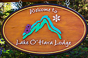 Lake O'hara Lodge sign, Yoho National Park, British Columbia, Canada