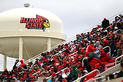 04 October 2014: The ISU water tower sports a newly painted logo in the background of the Hancock Stadium stands during an NCAA FCS Missouri Valley Football Conference game between the South Dakota State Jackrabbits and the Illinois State University Redbirds at Hancock Stadium in Normal Illinois