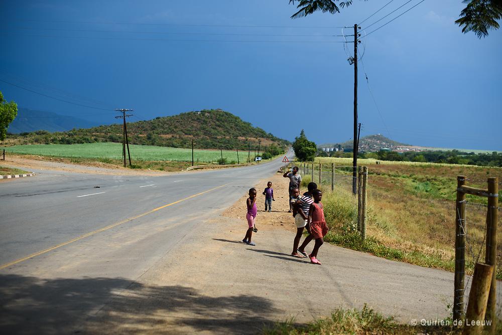 Children walking home, Kingdom of Eswatini, Swaziland