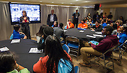 Freshman from the Energy Institute High School tour the BP suite at the Offshore Technology Conference, May 4, 2016.