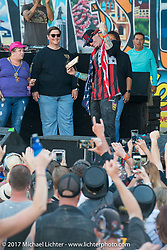 White rapper Vanilla Ice was presented the key to the city on the main downtown stage at the Lone Star Rally. Galveston, TX. USA. Sunday November 5, 2017. Photography ©2017 Michael Lichter.