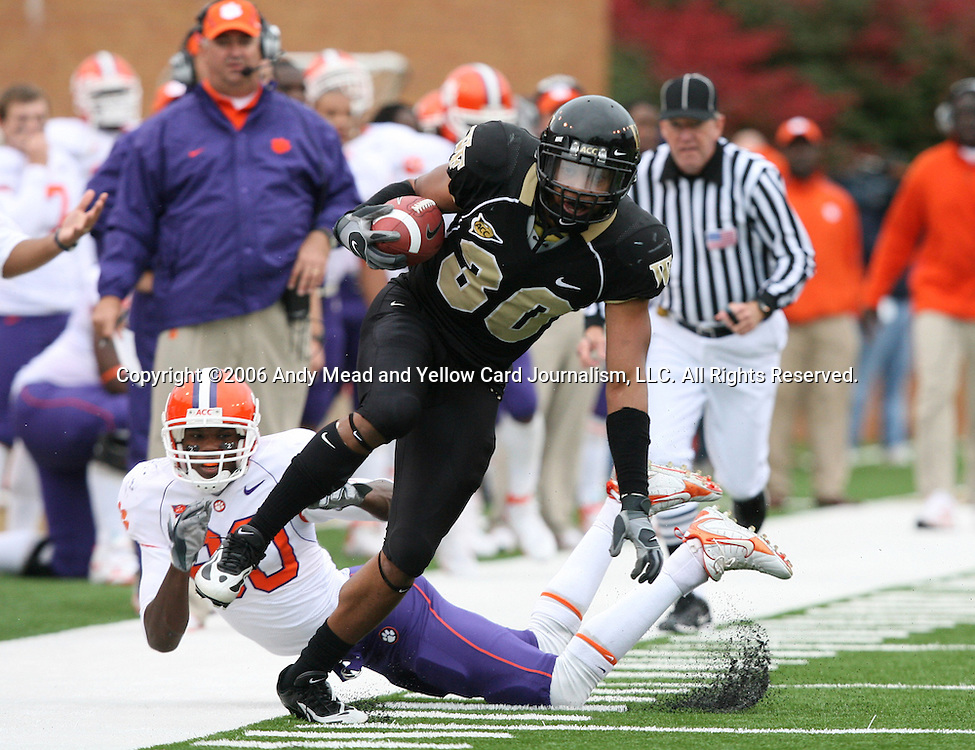 07 October 2006: Wake Forest's Patrick Ghee returns an interception 25 yards in the third quarter. The Clemson University Tigers defeated the Wake Forest University Demon Deacons 27-17 at Groves Stadium in Winston-Salem, North Carolina in an Atlantic Coast Conference NCAA Division I College Football game.