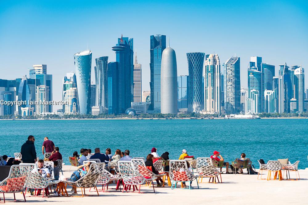 MIA Park cafe  and skyline of Doha in Qatar